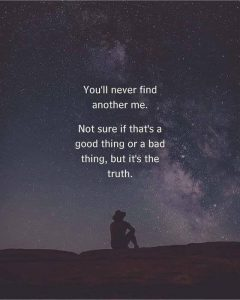 YOU WILL NEVER FIND ANOTHER ME NOT SURE IF THAT IS   A GOOD THING OR A BAD THING, BUT IT IS THE TRUTH.