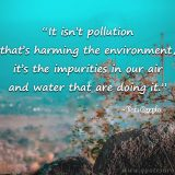 """It Isn't The Pollution That's Harming The Environment. It's The Impurities In The Air And Water That Are Doing It."""